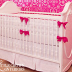 Little Crown Interiors - White and Hot Pink Crib Bedding - White and Hot Pink Crib Bedding