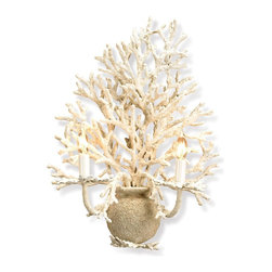 Currey & Company - Seaward Wall Sconce - Imitating nature is a true art form that is expressed in this detail oriented wall sconce. The faux coral is beautifully recreated by hand. The off-white finish is enhanced with a natural looking application of sand. Wall sconces are sold as pin-ups which allows them to be either hardwired or plugged in.