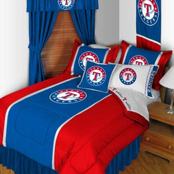 "MLB Texas Rangers Bedding and Room Decorations - Whether game day or a regular night's sleep, make your room shout ""A true Texas Rangers fan lives and sleeps here!"" We have a wide range of bedding and room decor products that will make quite an impression. Click the link below to view all items available for purchase."
