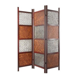 Oriental Unlimited - 6 ft. Tall Bamboo Leaf Room Divider - An innovative design featuring panels of both woven bamboo leaves and twisted abaca rope for added visual interest highlights this stunning room divider, a dramatic addition to any space. Featuring a wood frame crafted of mahogany in rosewood finish, the screen has three panels and two-way hinges for added versatility. Frame is made of Philippine Mahogany finished in an antique rosewood. Alternating shades made of woven bamboo sheets and twisted abacca rope. Lacquered brass 2-way hinges mean you can bend the panels in either direction. 71 in. H x 17.5 in. W (per panel)This intricately woven screen is a sure conversation piece. It features a delicate balance of 2 different types of hand woven panels to add texture to any space. Imported directly from Southeast Asia.