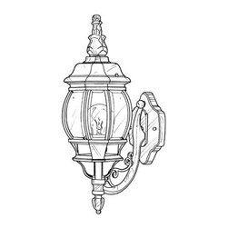 "Designers Fountain - Designers Fountain 2402-BK 1 Light 6.5"" Cast Aluminum Wall Lantern from the Rivi - Features:"
