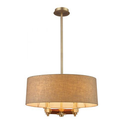 ELK Lighting - Four Light Satin Brass Drum Shade Chandelier - Four Light Satin Brass Drum Shade Chandelier