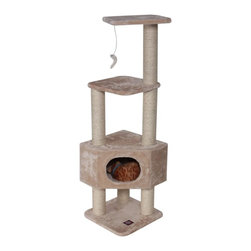 "MAJESTIC PET PRODUCTS - 52"" Casita  Cat Tree - Every king needs a castle, a princess her palace. The same is true for a pet. This grand condo for your kitty includes gym space upstairs for a quick tussling session, before retreating downstairs to rest those tired paws."