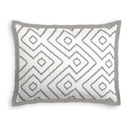 Gray & White Optical Diamond Custom Sham - Stay classy, America!  Add a few Tailored Shams with crisp solid edging to create a bedset with the perfect mix of contemporary style and classic elegance. We love it in this super chic gray and white diamond print on pure linen. A bold, graphic statement in your modern home.