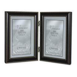 Lawrence Frames - 4x6 Hinged Double (Vertical) Metal Picture Frame Oil Rubbed Bronze - Classic oil rubbed bronze finish frame with a delicate border of brushed bronze beading both on the inside and outside edge.  Includes beautiful black easel backing for tabletop display, and hangers for wall mounting.  High quality 4x6 hinged double metal picture frame is made with exceptional workmanship and comes individually boxed.