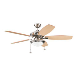 "Kichler - Kichler 300016BSS 52"" Indoor Ceiling Fan w/5 Blades - w/Light Kit and 4"" Downrod - Included Components:"