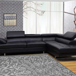 None - Black Bonded 2-piece Leather Sectional - Bring character to your living room with this modern two-piece leather sectional. Get comfortable by adjusting the ratchet headrests and getting settled on one of the tufted cushions. The chrome base stays in place on hard floors and carpeted surfaces.