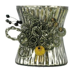 Votive Holder Pewter - Our lovely mercury glass votive holders are adorned with beautiful beaded clusters.