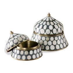 Interlude Home - Interlude Home Suri Round Boxes - These Interlude Home Round Boxes  are crafted from Brass and Resin and Bone and finished in Antique Brass and Gray and Natural.  Overall sizes are: 8 in. W x  8 in. D x 7 in. H.  6 in.  in. W x  6 in.  in. D x  5 in. H.