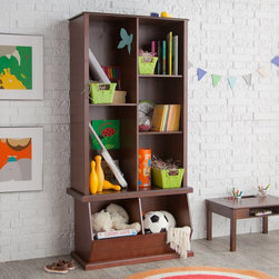 Classic Playtime - Classic Playtime Hopscotch Espresso Tall Bookcase with Optional Stackable Storag - Shop for Childrens Bookcases from Hayneedle.com! The Classic Playtime Espresso Tall Bookcase with Optional Stackable Storage Bin helps you keep books in order while also providing the flexibility of the included stackable storage bin. Durably constructed of MDF and wood veneers in an espresso-colored finish this storage unit offers plenty of storage for books and other items. The component pieces feature a versatile stackable design that allows you to save valuable floor space and configure them as you see fit. Perfect for any child's room with its warm finish and simple style this bookcase helps your little one start their very own library. Dimensions Stackable storage bin only: 32L x 15.75W x 19.25H inches Tall bookcase only: 32W x 14.5D x 49.25H inches Tall bookcase and stackable storage with sliding door: 32W x 14.5D x 68.5H inches About Classic PlaytimePlaytime doesn't require batteries or a screen and providing kids with a place to grow and learn doesn't require sacrificing your home's integrity. Classic Playtime is devoted to the idea that given constructive ways to explore their world and themselves children blossom in their own gardens. Our furniture is designed to be simple unique and functional in both kids' and adults' spaces. You'll find stylish and practical places for art activities reading writing building and somewhere to keep it all during downtime.
