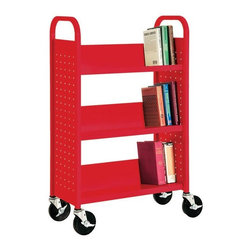 """Book Truck - The blast of red on this book truck is so intense! The industrial design appeals to my grownup aesthetics while the fun factor would appeal to my children. I can imagine the endless games of """"library"""" that would be had if it lived in our home."""