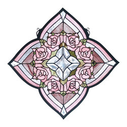 Meyda Tiffany - Meyda Tiffany Ring of Roses Window X-24627 - Soft and feminine thanks to the blend of Victorian flair and pastel hues, this charming Meyda Tiffany window is sure to please. From the Ring of Roses Collection, the soft pink roses are complimented by the unique quatrefoil shape. Touches of green complete the look.