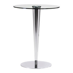 Zuo Modern Contemporary, Inc. - Kool Bar Table Chrome - The Kool Bar Table brings the night life to any space.  It has a harmonious shape with sleek design.  With a clear glass table and chrome base, this table is ready for any party!