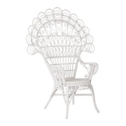 Serena & Lily - Peacock Chair - Elaborate rattan curlicues are woven and shaped entirely by hand to look just like peacock feathers. Painted cloud white, every little twist and turn pops in great detail.  View dimensions