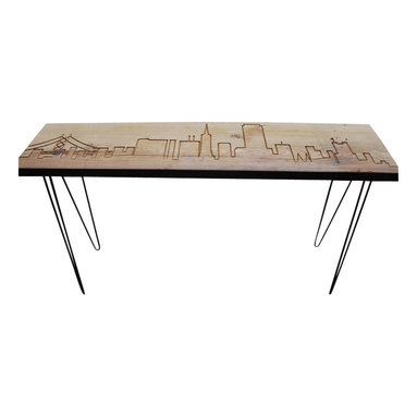 "Urban Wood Goods - San Francisco Reclaimed Wood Console Table - Standard , 84"" x 11.5"" - San Francisco reclaimed wood console table with the beautiful San Francisco skyline etched into the top and supported with mid-century hairpin legs. Each San Francisco skyline table is made of a single slab of salvaged old growth lumber that has been salvaged from a de-constructed home, barn or building in the midwestern United States. Custom woodwork for Urban Design interiors by Urban Wood Goods."