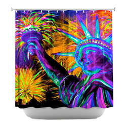DiaNoche Designs - Shower Curtain Artistic - Lady Liberty NYC - DiaNoche Designs works with artists from around the world to bring unique, artistic products to decorate all aspects of your home.  Our designer Shower Curtains will be the talk of every guest to visit your bathroom!  Our Shower Curtains have Sewn reinforced holes for curtain rings, Shower Curtain Rings Not Included.  Dye Sublimation printing adheres the ink to the material for long life and durability. Machine Wash upon arrival for maximum softness on cold and dry low.  Printed in USA.
