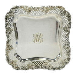 Lavish Shoestring - Consigned Silver Plated Grapes Border Tray by Barbour, American, Early 1900s - This is a vintage one-of-a-kind item.