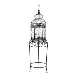 Benzara - Victorian Style Bird Cage With Wrought Iron - This Victorian style bird cage creates a proud home for any bird, as well as adding a rich Victorian style to your decor. Standing at 4 feet tall with elevated legs and intricate flowering ornaments. Perfectly made for the family room, but don't hesitate to place the bird on the back patio for some extra fresh air.