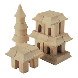 Guidecraft - Guidecraft Hardwood Table Top Oriental Block Set - Guidecraft - Wooden Play Sets - G6102 - Rebuild great structures from ancient history or challenge your kids to create new Architectural works of art. Alone or in conjunction with the Table Top Building Blocks Set build structures in an Oriental Style. This 42 piece hardwood set With 11 different shapes. Limited only by the imagination you can create your own landmarks using unique shapes or build designs that are included. Clean-up and storage is a breeze with the clear plastic bucket and lid with handles.