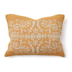 "Villa Home - Tuscan Scroll Print Pillow in Golden - Features: -Color: Golden. -Pillow cover material: 100% Linen. -Pillow insert material: 95% Feather / 5% down - 100% cotton cover. -Print front. -Dimensions: 12"" W x 16"" D, 1 lb."