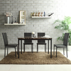 Tribecca Home - TRIBECCA HOME Darcy Faux Marble Top Black Metal 5-piece Casual Dining Set - A decorative faux marble table top is the highlight on this five-piece Darcy dining set. Four matching,contemporary vinyl-upholstered metal dining chairs complete the look for the perfect addition your modern dining decor.