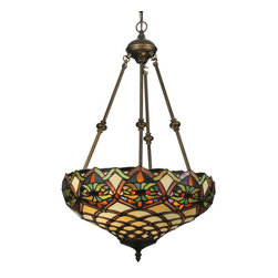 """Meyda Tiffany - Meyda 16""""W Franco Inverted Pendant - A luxurious Art Nouveau stained glass shade is highlighted with Scarlet Red jewels that accent a Sunset Orange, Amber, Leafy Green and Oak Brown pattern on a Bone Beige background. The stained glass shade is handcrafted using Louis Comfort Tiffany's world famous copper foil construction process. This magnificent Tiffany styled art glass floor lamp is complemented with hardware hand finished in a warm Mahogany Bronze. Ideal for ambient, accent and decorative lighting in fine homes, restaurants, hotels and retail and commercial settings. Energy efficient lamping options. UL listed."""