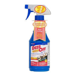 Havahart - Deer Off Ready to Use Deer & Squirrel Repellent Spray Multicolor - DO16RTU - Shop for Pest Control from Hayneedle.com! Deer Off II Deer & Squirrel Repellent contains more active ingredients than the original Deer Off with 4X's more putrescent egg 1.5X more garlic and 1.5X more capsaicin. This deer repellent is also ideal for repelling rabbits and squirrels. Havahart Deer Off II has a patented Dual Deterrent System formula that provides both scent and taste barriers to repel deer rabbits and squirrels. The putrescent egg and garlic scent coupled with a hot pepper taste will dissuade deer rabbit and squirrels from eating your plants. If the critter gets past the odor it'll be repelled by the taste. Deer Off II 16 oz. ready-to-use weather-resistant deer repellent formula is enough to treat 20-25 ornamental shrubs 4 feet tall or approximately 250 sq. ft. of plantings. When applied as directed this animal repellent lasts up to 90 days. Deer Off II Deer Repellent is made from natural and food based ingredients. OMRI listed and compliant for use in organic gardening this product is also EPA registered for direct use on plants bulbs flowers and trees. It should not leave a visible film or residue and will not change the color of plants and foliage. Made in the USA.