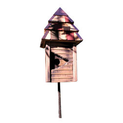 Heartwood - Vintage Gatehouse Bird House - This  beautiful  bird  house  is  the  perfect  addition  to  any  home  or  garden  of  your  choice.  THe  ultimate  in  gated  communities--strictly  for  high  flyers  and  upper  gentry!  The  slatted  front  with  stylish  keyhole  opening  compliments  natural  cypress  sides  and  layered  cypress  shingled  roof  adorned  with  bright  multi  colors.  Mount  it  with  pride  and  your  new  neighbors  will  be  all  atwitter.  This  bird  house  is  one  you  are  sure  to  enjoy  in  the  years  to  come.                  8x8x17              1-1/2  hole              Handcrafted  in  USA  from  renewable,  FSC  certified  wood