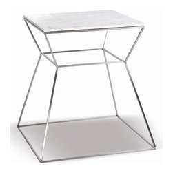 sohoConcept - Marble Top End Table - An elegant solution for commercial or residential applications. Top sits on stainless steel frame. White Marble finish. 17 in. W x 17 in. D x 18.5 in. H