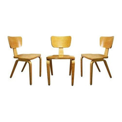 "Thonet - Pre-owned Thonet Style Side Chairs - Set of 3 - Straight from the 1950's, this trio of bent-wood dining chairs calls on the design principles of Charles and Ray Eames and the Thonet Company. Made from laminated maple, these chairs would be wonderful additions to your dining room, kitchen or office. 18"" seat height. Priced adn sold as a set of three."