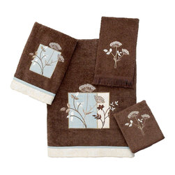 Avanti Linens - Queen Anne 4 Piece Cotton Towel Set by Avanti Linens - These embellished towels in a modern color palette feature an embroidered and applique floral motif, adding a fresh accent to your bathroom's decor. The coordinating fabric trim adds the perfect finishing touch. The color of the towels is mocha.