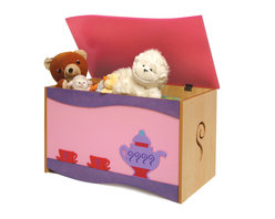 Girl Teaset Toy Box - A large quality toy chest that will be treasured as much as the treasures it holds.  A Purple Teapot and 2 Pink Tea Cups accent this toy chest, made of birch veneers and finished in colorful stains. Wave shaped lid is solid birch wood. Safety hinges and finger space under lid ensure that little fingers won't get hurt.