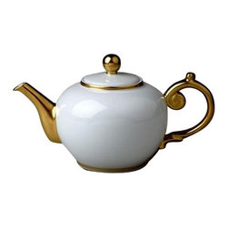 """L'Objet - L'Objet Aegean 24kt Gold Tea Pot White - Our Aegean Collection inspired this traditional dinnerware with its timeless and delicate scalloped decal border. This sophisticated pattern is the ultimate layering accent. Limoges Porcelain, Made in Portugal. 3 Layers of Hand Applied 24K Gold Dishwasher safe on Delicate Setting. Not Microwavable. Measures: 6"""" , 42oz. L'Objet is best known for using ancient design techniques to createtimeless, yet decidedly modern serveware, dishes, home decor and gifts."""