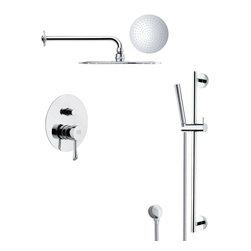 Remer - Modern Round Chrome Rain Shower Faucet Set - Single function shower faucet.