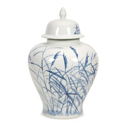 iMax - Tollmache Large Lidded Urn - In a style reminiscent of New Burleigh and antique transferware, the Tollmache lidded urn has a subtle, sophisticated oriental inspiration mixed with modern technique that makes it an one of a kind accent for any home.