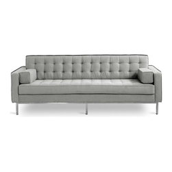Gus Modern - Spencer Sofa, Totem Storm - Spencer Collection by Gus Modern. Proof that you don't have to sacrifice style or comfort for strength, the sturdily crafted the Spencer Sofa & Chair ensure years of handsome, worry-free service. Order them singly or pair the two together for a cohesive, contemporary seating collection. Crisp angles are softened by two loose square pillows included with the Spencer Sofa.