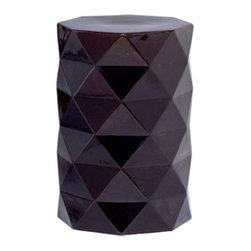 Black Octagon Geometric Garden Stool - Octagonal ceramic garden stool with black glossy glaze.