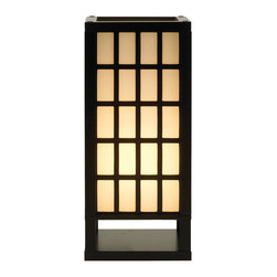 """Adesso Inc. - Middleton Table Lantern - The Middleton lamps have black painted frames and window panes. Each lamp has shade panels lined with PVC backed off-white fabric. The bottom of each shade is enclosed by a wood panel. Has a line switch. 1x60 Watt incandescent or equivalent CFL bulb. 18"""" Overall height, 8"""" Square, 2.5"""" Clearance between base and shade bottom. Shade: 15"""" Height."""
