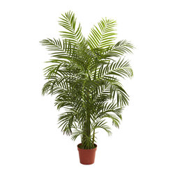 Nearly Natural - 4.5' Areca Palm UV Resistant (Indoor/Outdoor) - Get your swimsuit and the sunscreen ready, because you're about to go to the beach. At least it'll feel that way when you display this beautiful Areca palm tree. Standing more than 4 feet in height, it has 8 trunks and more than 800 leaves, ready to dance in the ocean breeze, whether that breeze is in your home, office, or back patio. Fully UV resistant, this indoor / outdoor piece will make the perfect statement in just about any space, and makes a fine gift.