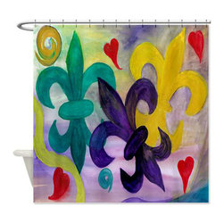 usa - Mardi Gras Fleur De Lis Shower Curtain - Beautiful shower curtains created from my original art work. Each curtain is made of a thick water resistant polyester fabric. The permanently applied art work appears on the front side with the inside being white. 12 button holes for easy hanging, machine washable and most importantly made in the USA. Shower rod and rings not included. Size is a standard 70''x70''