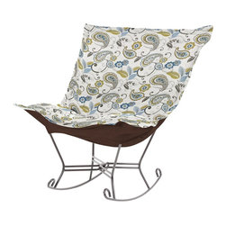 Howard Elliott - Paisley Scroll Puff Rocker - Titanium Frame - Nothing less than the most comfortable chair on the planet! The soft luxury and style of our Puff Collection is a great addition to any room. All Puff cushions are constructed with luxurious foam for optimal comfort. Like most HEC items, Puff cushions are removable for easy cleaning, are interchangeable between frames.