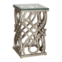 """Monte Carlo Side Table Base - Monte Carlo Side Table Base. Style no: ST77752. 15 1/2""""w x 15 1/2""""d x 26 1/2""""h. Material: Metal. Finish: As specified. Top Options: Wood, glass, stone, copper. Custom sizing available."""