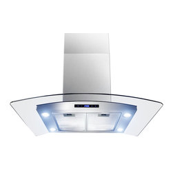 """AKDY - AKDY AG-ZAIS2 Euro Stainless Steel Island Mount Range Hood, 30"""" - Merging form and function beautifully, every model includes innovative ultra quiet operation features, powerful air circulation, and contemporary styling. Refined form and industry-leading functionality are sure to complement any kitchen, as well as the individuals who cook in them. Hi-tech meets high style with a minimum of fuss with the GVAIS2 model. Powerful 870 cfm blowers, soft-2-touch technology controls, three speed levels, quad LED lights, and a delay off function instill appliance envy in even the most sophisticated kitchens. Centrifugal blowers automatically liquefy cooking residue without complex filters. Simply spray detergent into the no-stick blowers while on low speed, and the residue will collect for easy disposal. Nice!"""