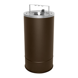 Ex-Cell - Pioneer 20 in. Freestanding Floor Urn in Brown - Removable flip top with bridge and chrome powder trim. Decorative chrome powder trim. EXL-coat textured finish prevent fingerprints and smudges. ADA compliant. Blades made from 30% recycled stainless steel. Made from USA. 10 in. Dia. x 20 in. H. Warranty. Care and Maintenance