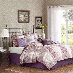Madison Park - Madison Park Lizette 6-piece Coverlet Set - This soothing and soft coverlet set features a pattern of soft light purple shades. Two shams and three beautifully embroidered decorative pillows accentuate the intricate print on the coverlet.