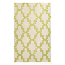 Jaipur Rugs - Hand-Tufted Moroccan Pattern Polyester Green/Ivory Area Rug ( 2x3 ) - A youthful spirit enlivens Esprit, a collection of contemporary rugs with joie de vivre! Punctuated by bold color and large-scale designs, this playful range packs a powerful design punch at a reasonable price.
