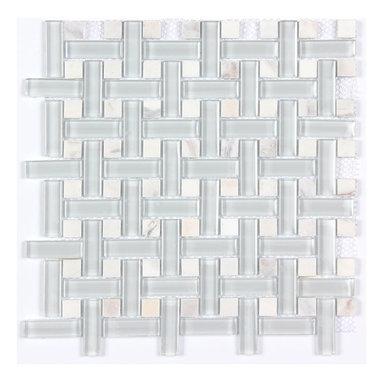 Stone & Co - Stone & Co Marble Mosaic Glass Strip and Stone Dot Basketweave Mosaic - Finish: Polished / Shiny