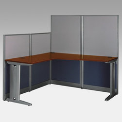 Bush Furniture - Bush Office-in-an-Hour L-Shaped Computer Desk - WC36494-03 - Shop for Desks from Hayneedle.com! An organized office is just an hour away with the Bush Office-in-an-Hour L-Shaped Computer Desk. Offering ample workspace and short and tall privacy panels this commercial-quality office desk has a sturdy laminate desktop with wire-management grommets to keep cords neat and out of the way. Metal desk legs feature removable face plates to conceal computer cables. The dark brown Hansen Cherry finish adds a touch of warmth while the L-shaped design helps maximize space. This desk boasts a durable engineered wood (particleboard and fiberboard) construction that assembles quickly and easily. With its simple yet functional design this L-shaped computer desk is a great choice for any office.Additional Features:Adjustable levelers compensate for uneven surfacesCushioned privacy panels are framed in metal Melamine surfaces are scratch- and stain-resistantRemovable face plates on legs hide cords and cablesAbout Bush FurnitureBush Furniture is the eighth largest furniture company in the United States. Bush manufactures high-quality products which are designed to be easily assembled and provide great value for the price. Bush furniture is made from a combination of particleboard fiberboard and solid wood components. The use of real wood components will be noted in the product description if applicable.Bush Industries has over 4 000 000 total square feet of manufacturing warehousing and distribution space. This allows for a very wide selection of high-quality furniture with the ability to ship quickly. All standard residential Bush products carry a generous 6-year warranty. All Bush business furniture including the A series C series and Quantum series is backed by a 10-year warranty from Bush one of the best in the industry.Please note this product does not ship to Pennsylvania.