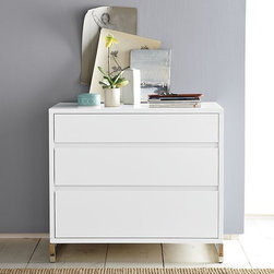 Hudson 3-Drawer Dresser - Bedroom storage made simple. A mix of wood and metal make for a clean, functional design with a contemporary presence and roomy drawers for all organizational needs. Narrow metal legs lighten the look.