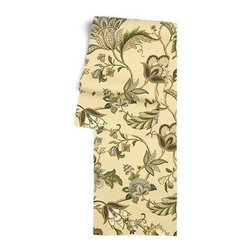 Tan Jacobean Floral Custom Table Runner - Get ready to dine in style with your new Simple Table Runner. With clean rolled edges and hundreds of fabrics to choose from, it's the perfect centerpiece to the well set table. We love it in this sophisticated Jacobean floral in soft neutral beiges and grays. Perfect for the new traditionalist.
